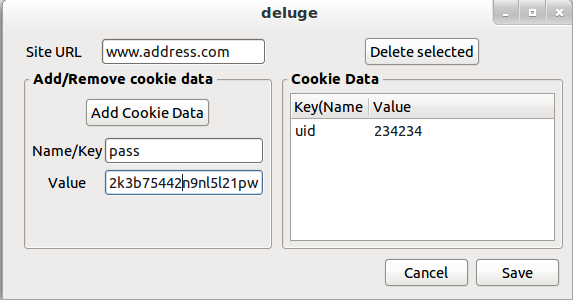 Screenshot of the 'Add Cookies' dialog